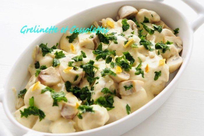 Fricassée de poulet à la Moutarde, Crémée, à la Bergamote