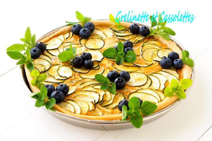 Tarte Roquette Courgettes et Myrtilles