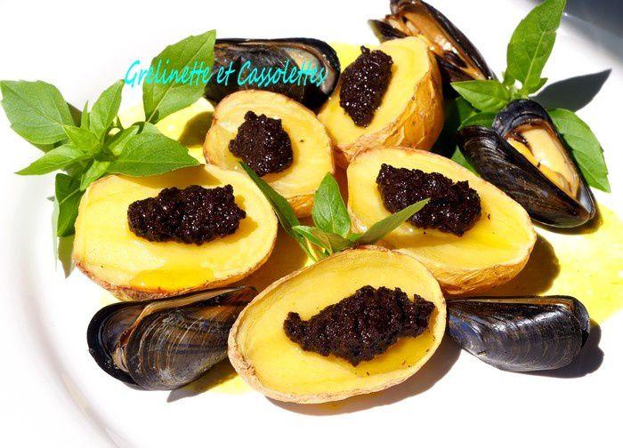 Pommes de terre de l'Ile de Ré cuites au Barbecue, à la Tapenade