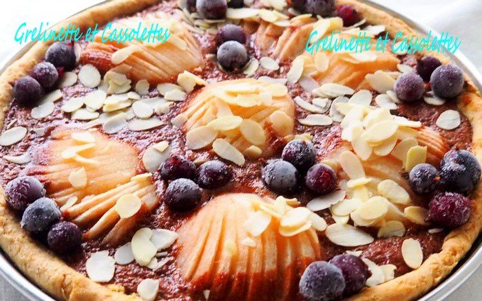 Tarte Amandine Poires et Chocolat, acidulée aux baies de Caseille