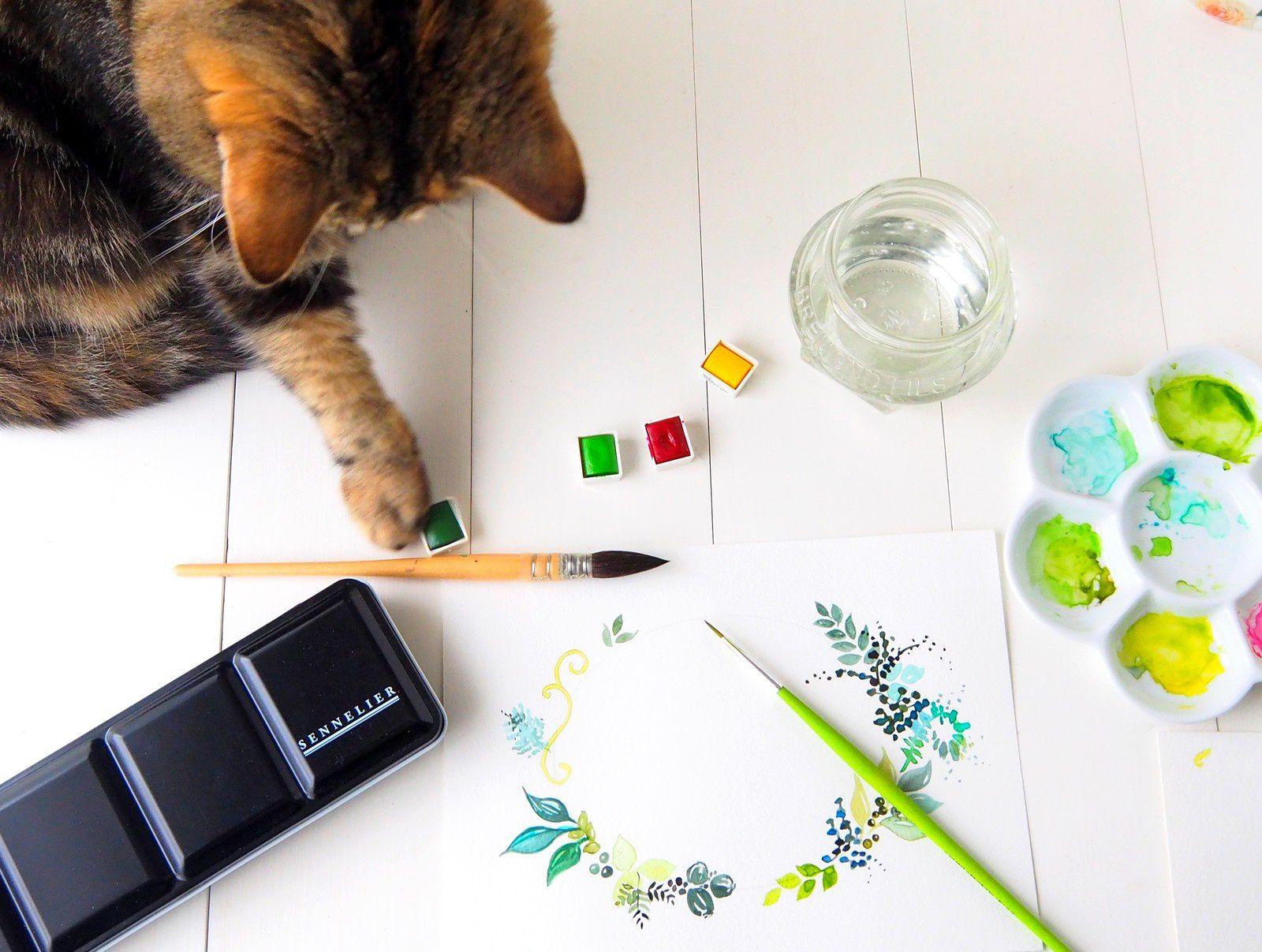 Aquarelle... Peindre avec un Chat
