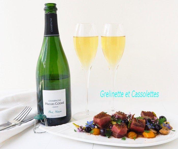 Accord Mets et Champagne, Magret de Canard rôti aux Mirabelles et Champagne Brut Nature Grand Cru Hugues Godmé