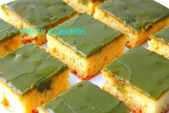 Lemon and Matcha Squares, carrés au Citron, à l'Angélique et au Thé Matcha