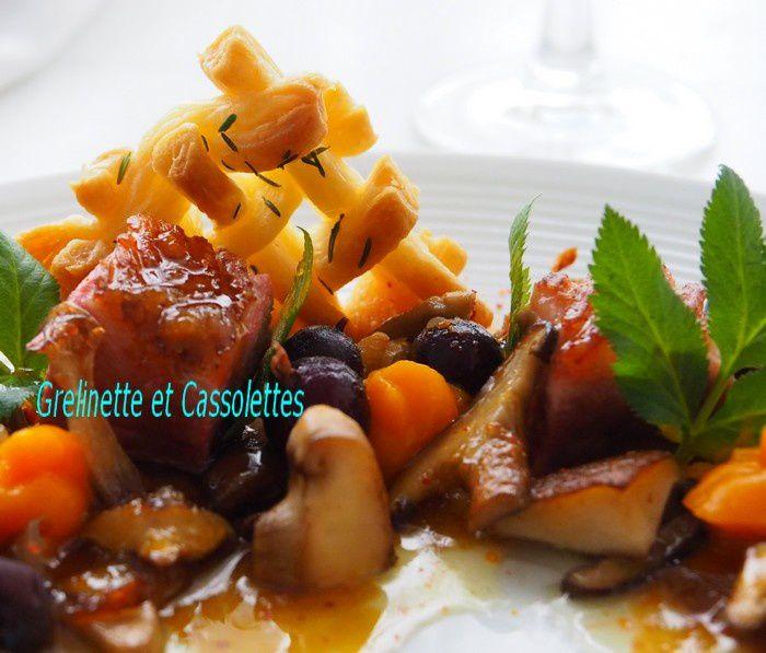 Magret de Canard rôti, Mousseline de Potimarron et Lentins des Chênes, Sauce Acidulée, Accord Mets et Vin de Bordeaux