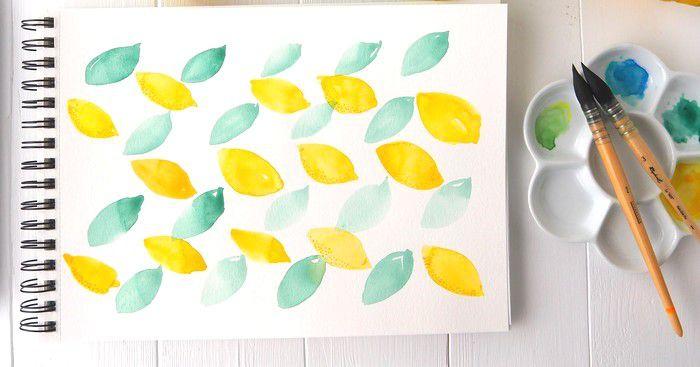 Une histoire de Citrons, pinceaux Sennelier et Raphael, Aquarelle