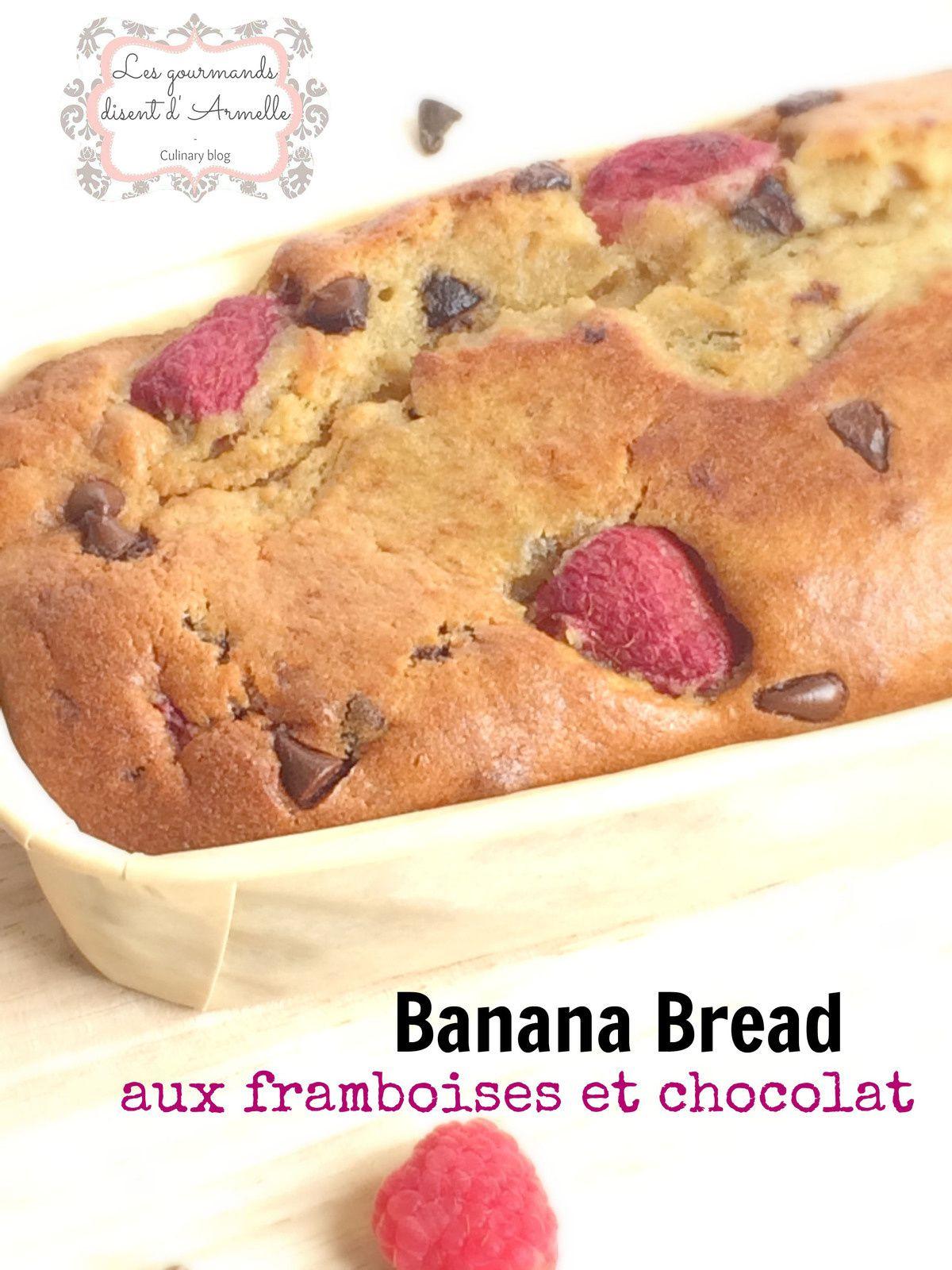 Banana bread aux framboises et chocolat