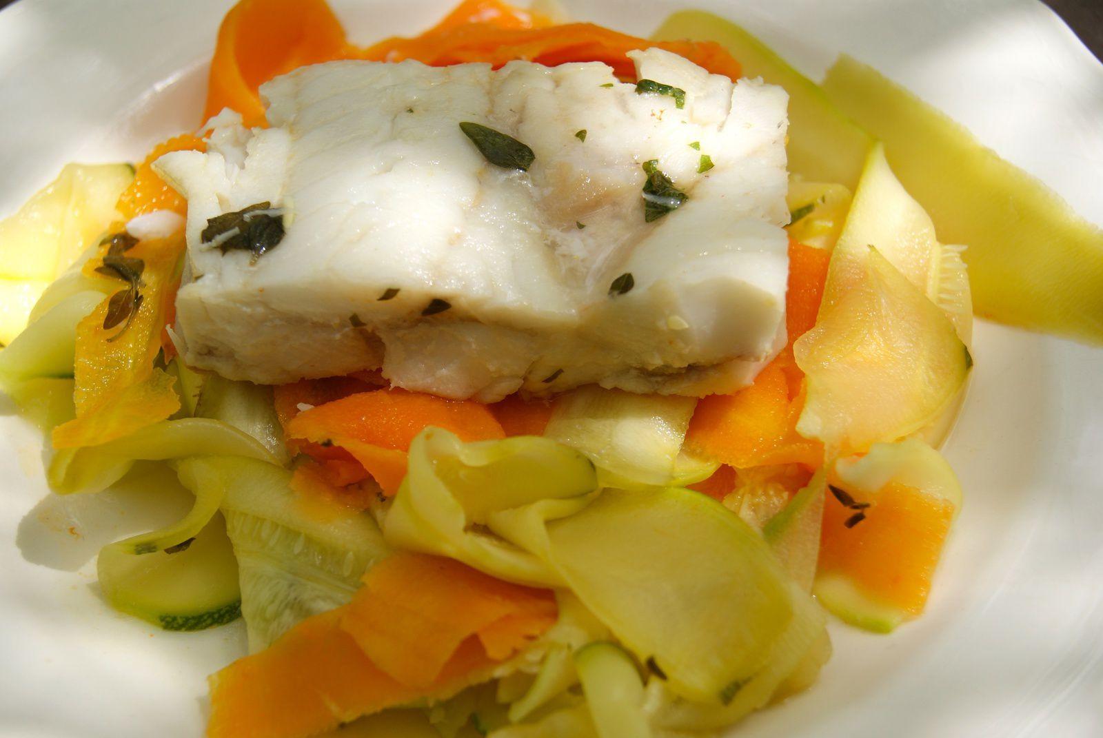 Cabillaud et ses tagliatelles de légumes