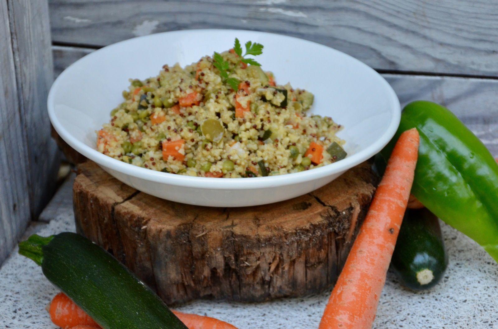 Quinoa/boulgour aux petits légumes