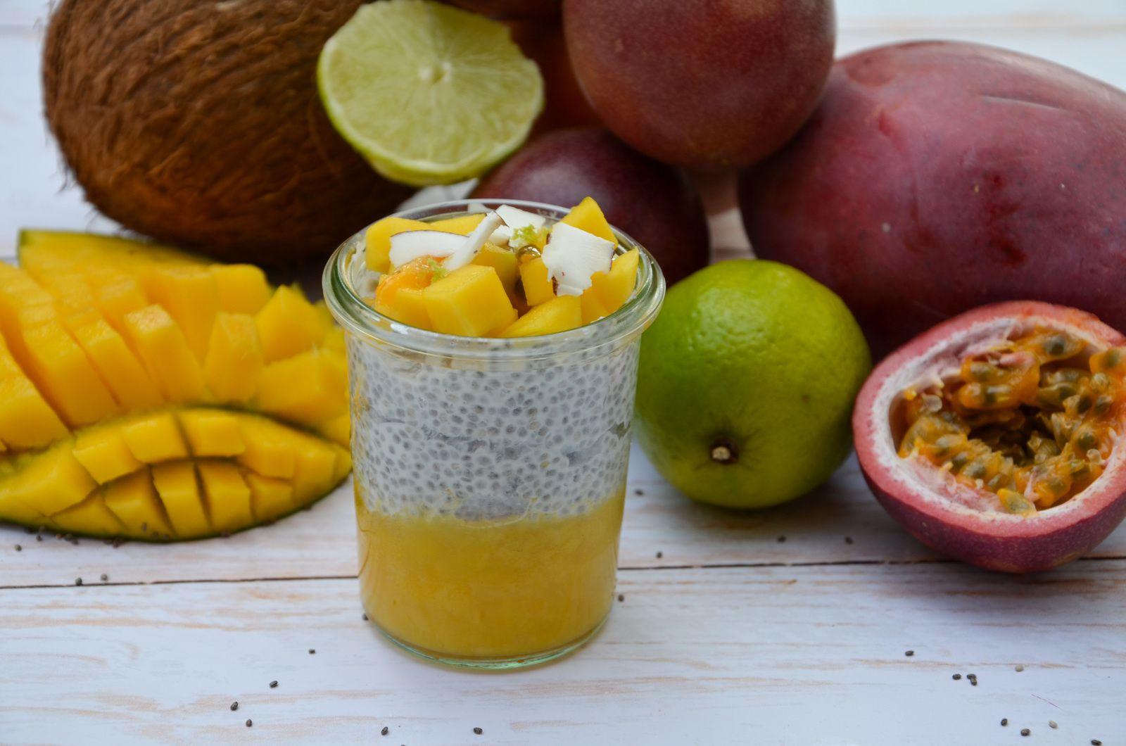 Chia pudding exotique (coco, mangue, passion)