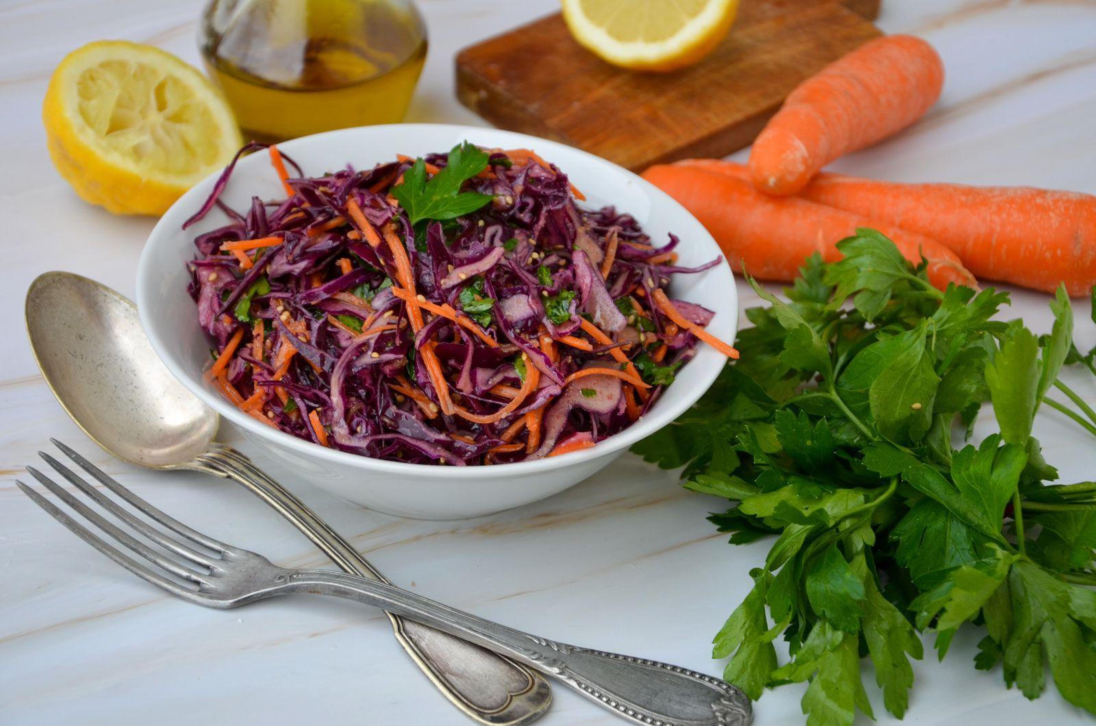 Salade de chou rouge et carottes