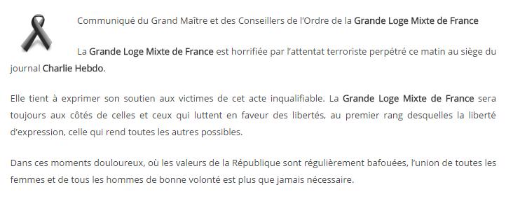 Communiqué de la Grande Loge Mixte de France.