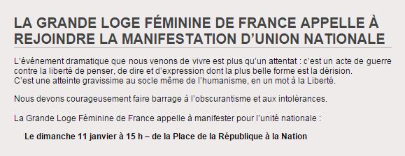 Communiqué de la Grande Loge Féminine de France.