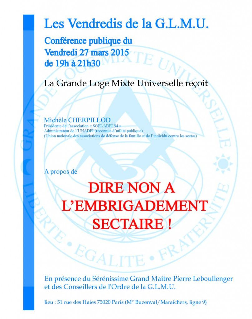 Les Vendredis de la GLMU. Le 27 mars : l'embrigadement sectaire