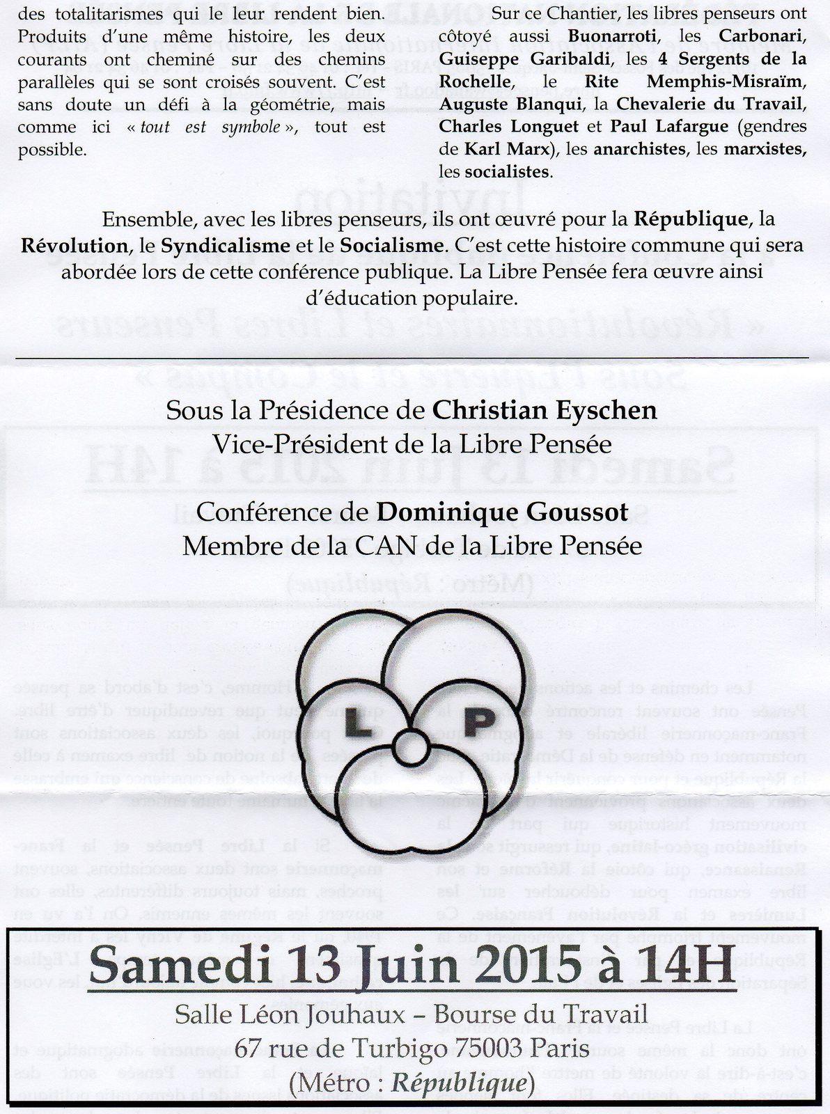 Samedi 13 juin, Conférence publique de la Libre Pensée