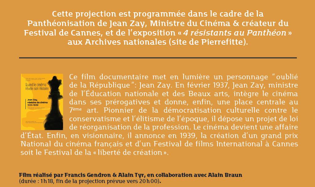 """Projection du film : """"Jean Zay, le ministre du cinéma""""..."""
