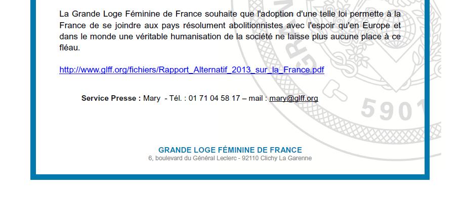 La GLFF soutient le projet de loi sur la lutte contre le système prostitutionnel