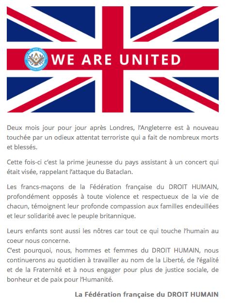 Manchester. La FFDH : solidarité avec le peuple britannique.