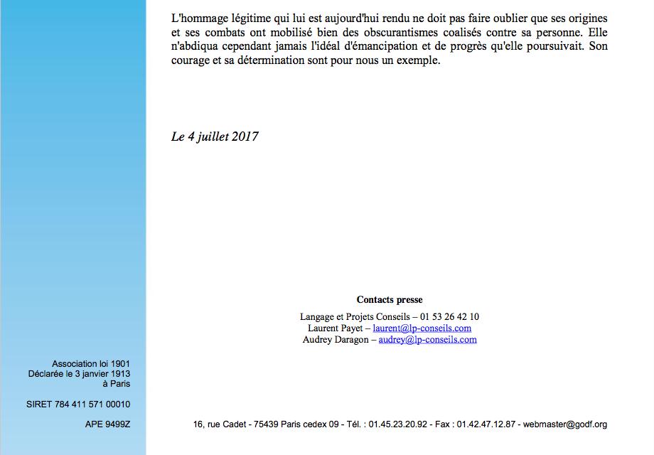 GODF : Simone Veil, une vie de combat pour l'émancipation.