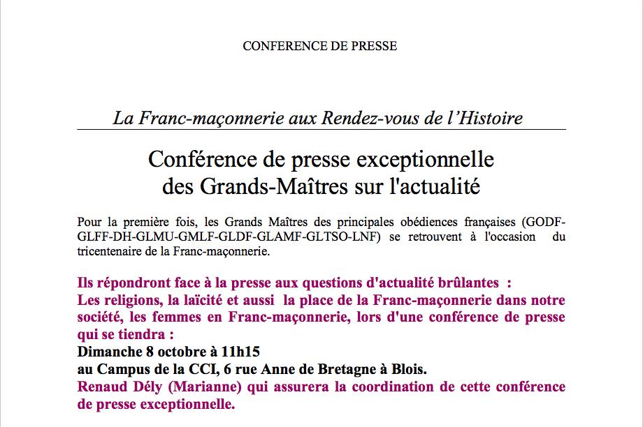 Blois. Conférence de presse des Grands-Maîtres