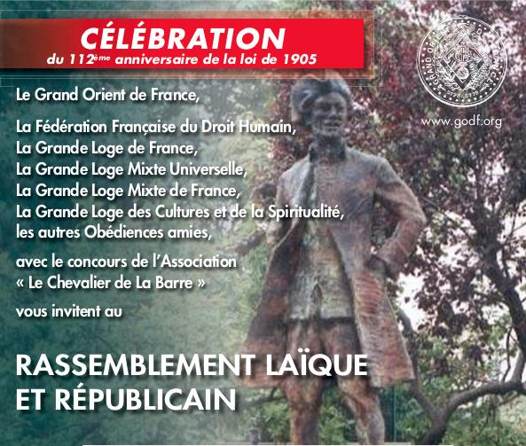 10 décembre, 15h00, square Nadar, Paris, Rassemblement laïque et républicain.