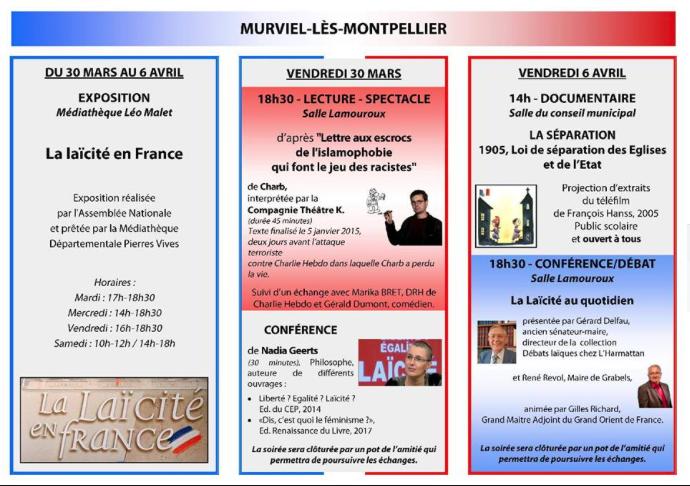 Avec Laïcité 30, les 29 et 30 mars, Laïcité-Liberté d'Expression.