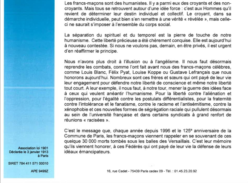 Le 1° mai 2018 des francs-maçons : pour que vivent les principes de la République !