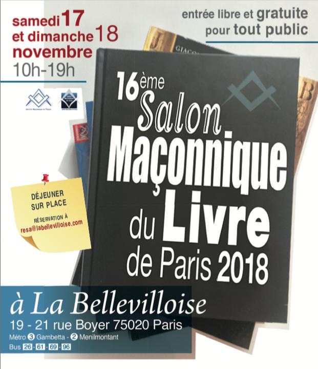 16° Salon Maçonnique du Livre - 17 et 18 novembre