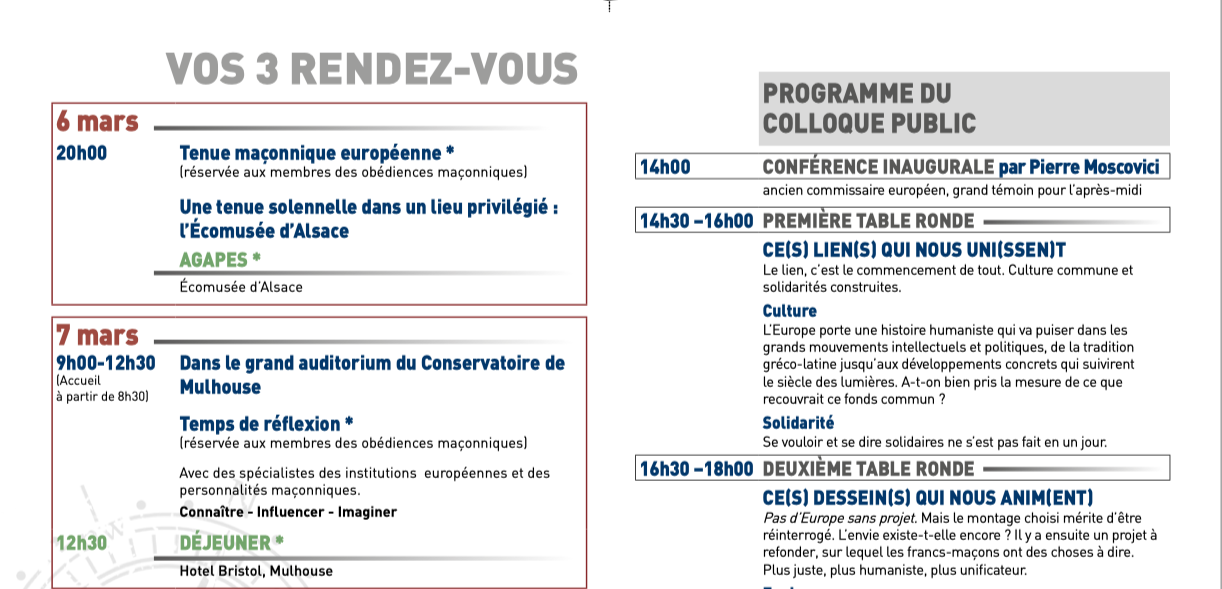 Colloque Mulhouse : le programme, le GODF en Europe...