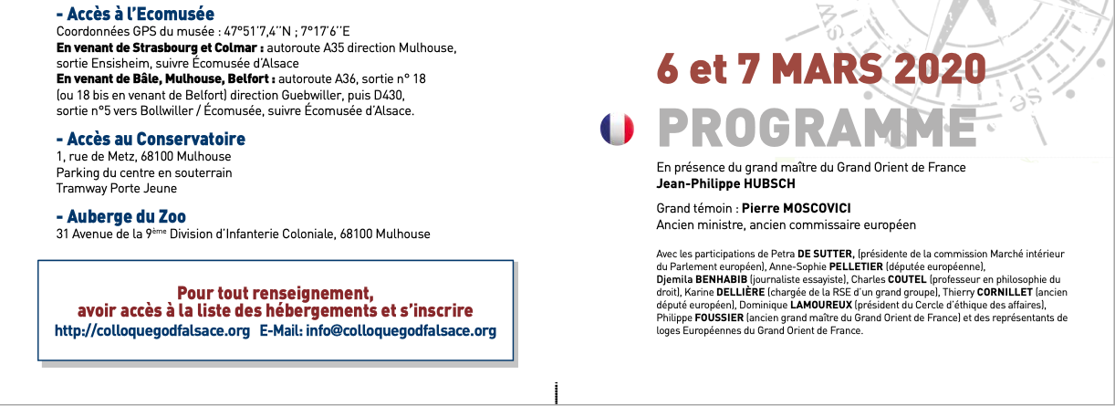 Colloque Mulhouse : le programme, le GODF en Europe...