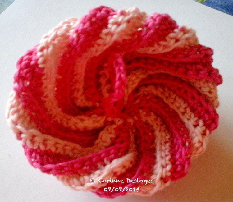 CROCHET : tawashi (éponge au crochet) rose