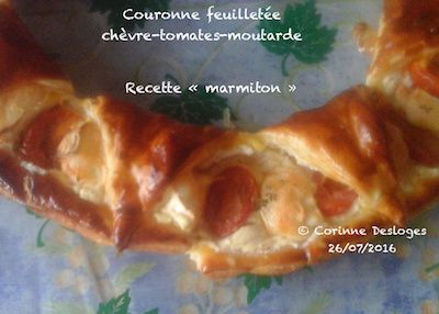 COURONNE FEUILLETEE chèvre, tomates, moutarde