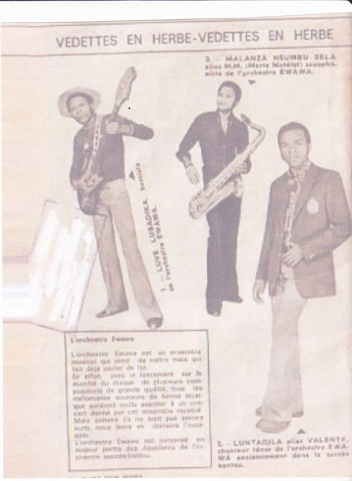 Lubadika avec sa guitare, Matalanza avec son saxo, et Luntadila Valenta alors musiciens de l'orchestre Ewawa de Malph