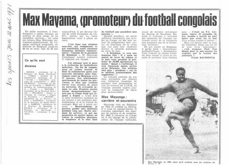 Avril 1971 : Tournée de l'équipe militaire congolaise en Belgique sous la direction du sélectionneur Max Mayunga.