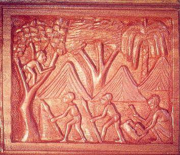 Une sculpture de l'épopée Lianja, extraite de l'Aequatoria
