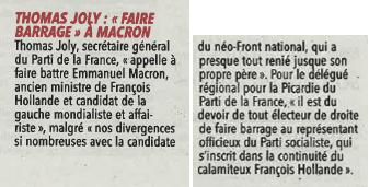Un communiqué relayé par le Courrier Picard du 25/04/17