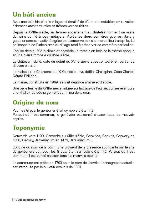 JANVRY PETIT GUIDE LOCAL A DESTINATION DE NOS VISITEURS