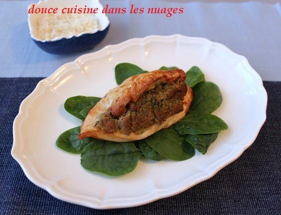 filets de poulet farcis au citron, thym et Saint Agur