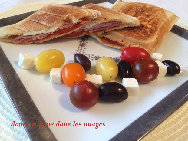 Croque-monsieur feta, jambon, poivron