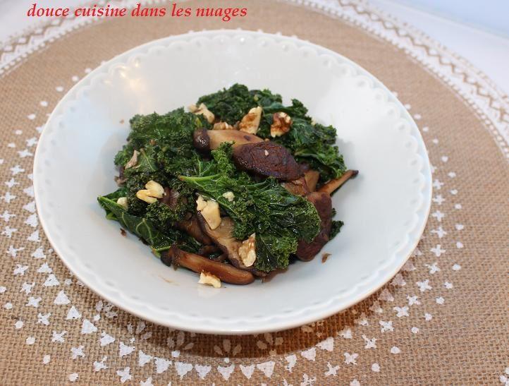 Poêlée de chou kale et champignons shiitakés