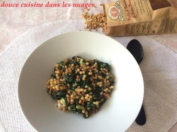 Risotto de fregola aux feuilles de blettes et fromage bleu de brebis