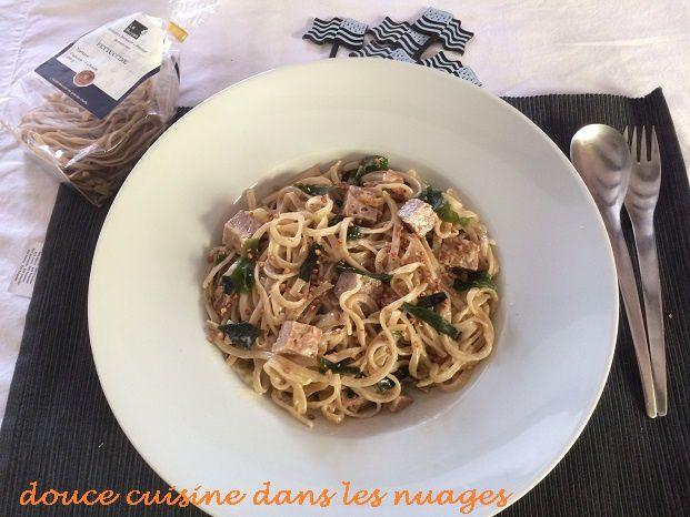 Fettucine à l'andouille, oignon et wakamé