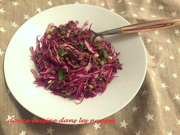 Salade de lentilles, chou rouge et coriandre