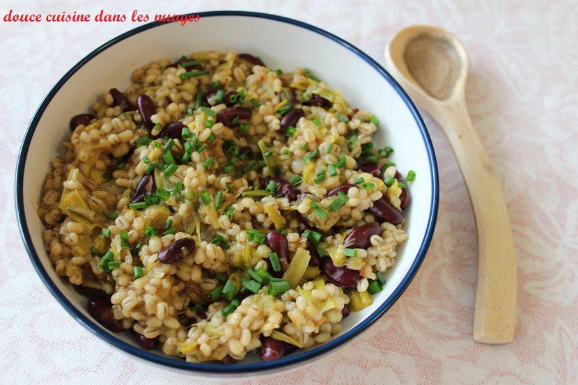 Orge perlée en risoto poireau et haricots rouges