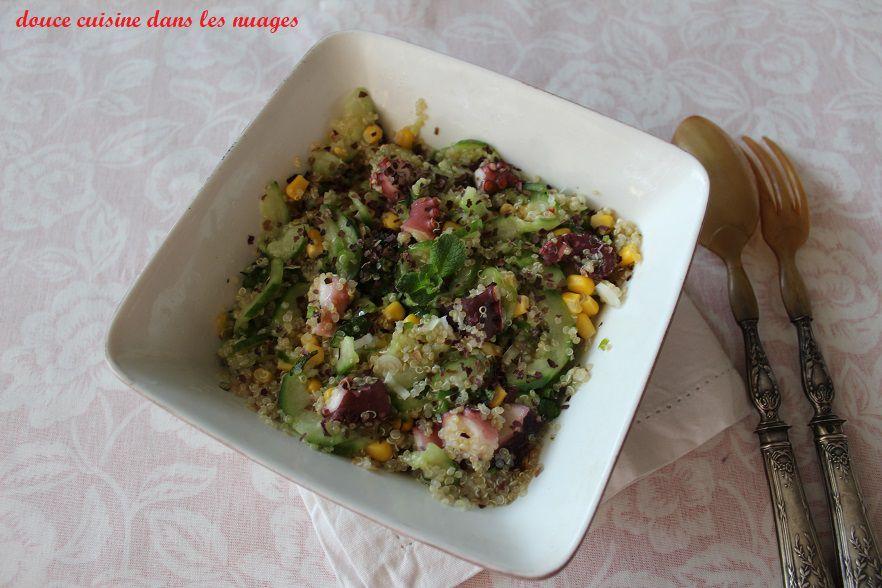 Salade de quinoa, concombre et de poulpe