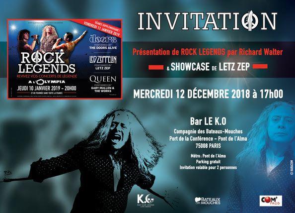 Rock Legends Revivez vos concerts de légende à l'Olympia les 10 et 11/01 et en tournée des Zéniths dans toute la France / ACTUALITE MUSICALE