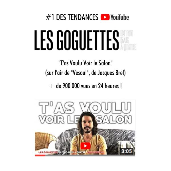 #1 des tendances Youtube : Les Goguettes (en trio mais à quatre) !