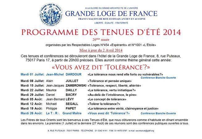 Les tenues d'été 2014 de la Grande Loge de France