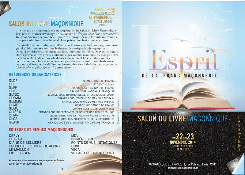 Salon du Livre Maçonnique les 22 et 23 novembre à la Grande Loge de France avec 13 obédiences organisatrices.
