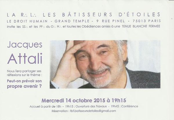 "Dh : TBF de Jacques Attali le 14 octobre 2015 à Paris. ""Peut-on prévoir son propre avenir""?"