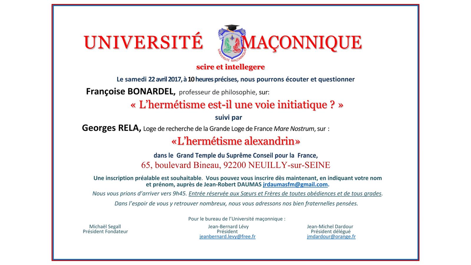 Université Maçonnique du 22 avril 2017. L'Hermétisme. Avec Françoise Bonardel et Georges Rela